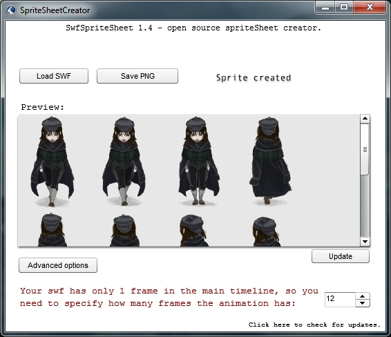 Useful application to convert a Flash animation into a sprite sheet